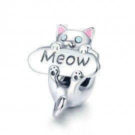 Sterling Silber Charm Katze Miau