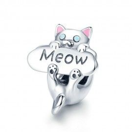 Sterling silver charm Cat meow