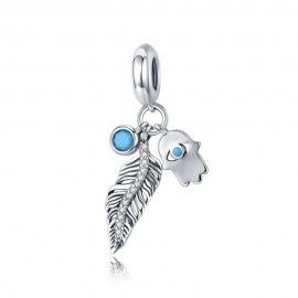 Sterling silver pendant charm Bohemian feather and Hamsa hand