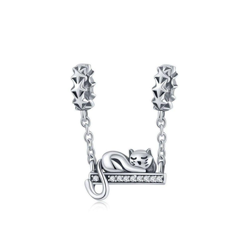 Sterling silver pendant charm Cat swing