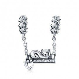 Charm pendente in argento Gatto altalena