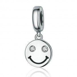 Zilveren hangende bedel Lachend gezicht
