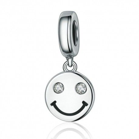 Sterling silver pendant charm Smiling face