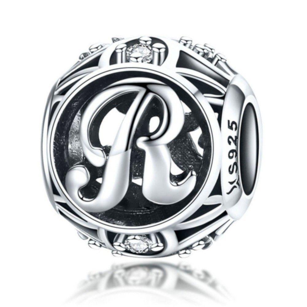 Zilveren alfabet bedel letter R met zirkonia steentjes