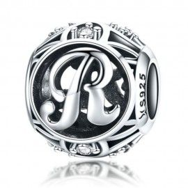 Sterling silver alphabet charm with zirconia stones letter R