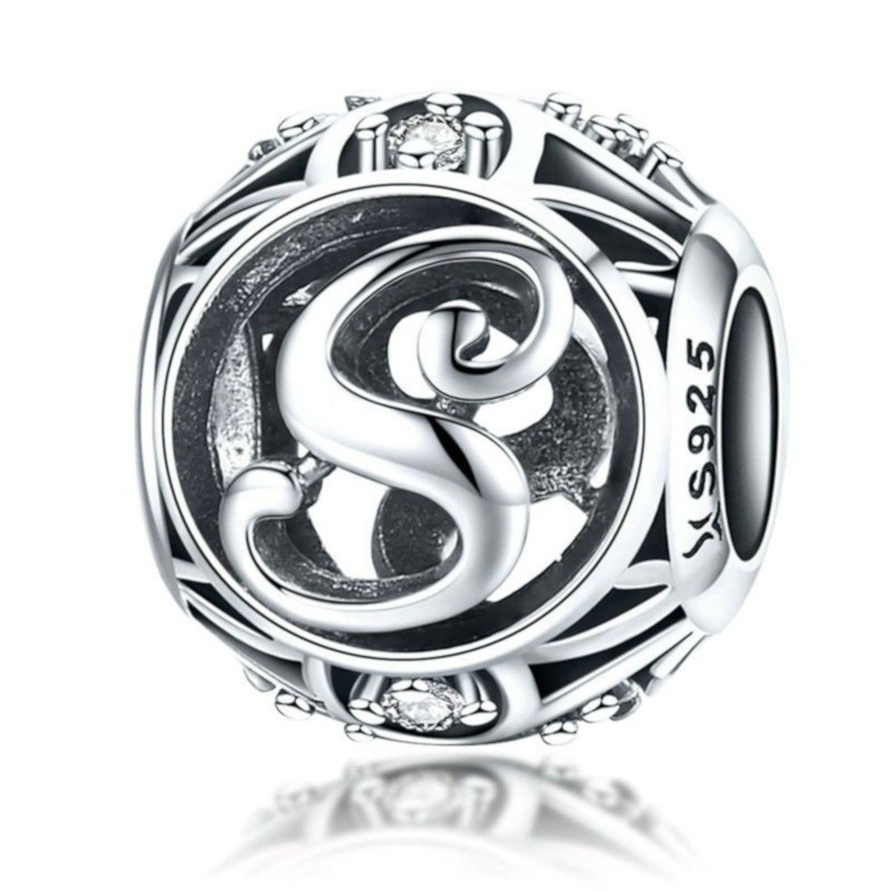 Sterling silver alphabet charm with zirconia stones letter S