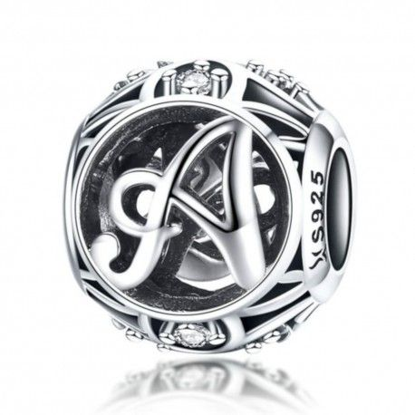 Sterling silver alphabet charm with zirconia stones letter A