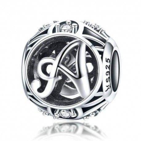 Zilveren alfabet bedel letter A met zirkonia steentjes