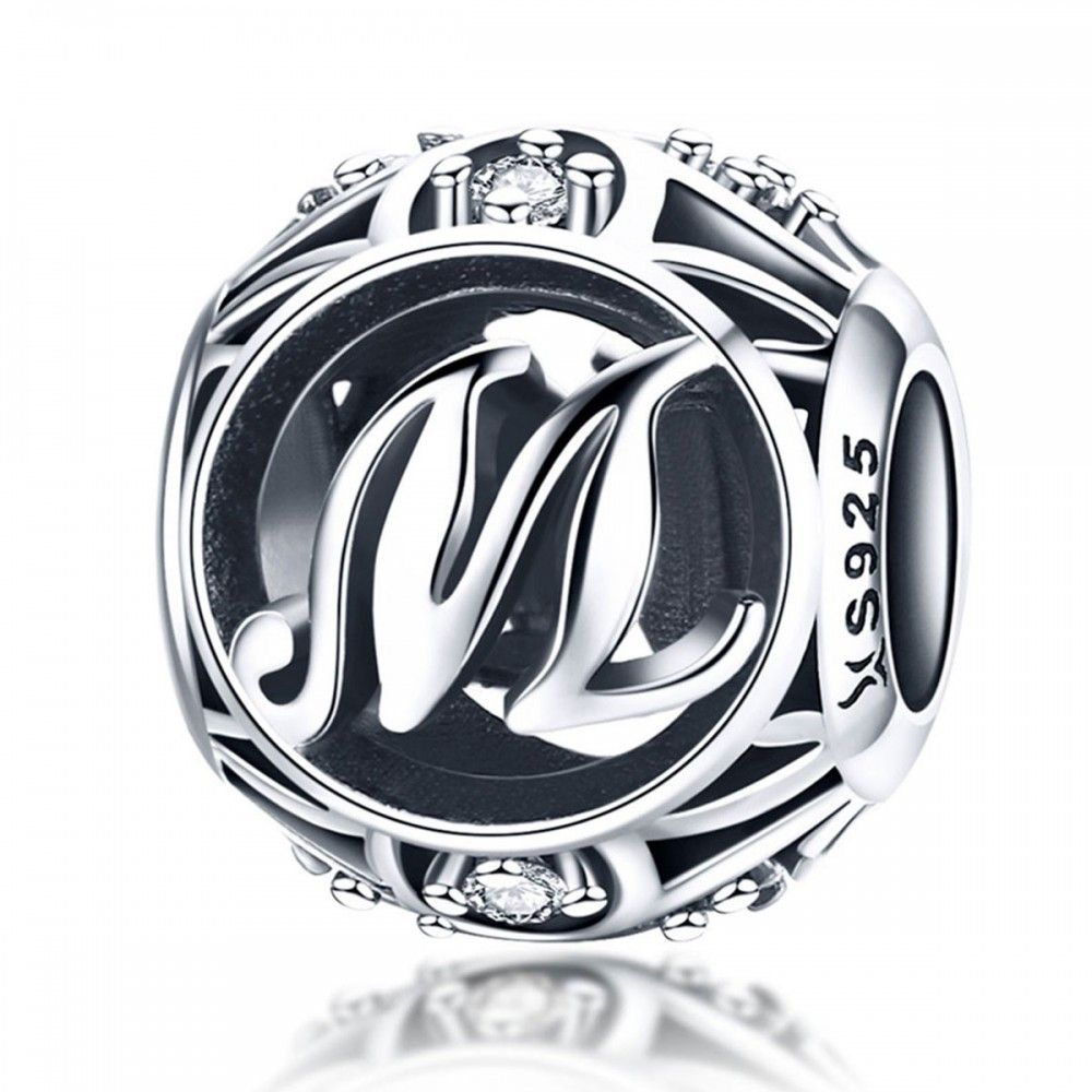 Sterling silver alphabet charm with zirconia stones letter M