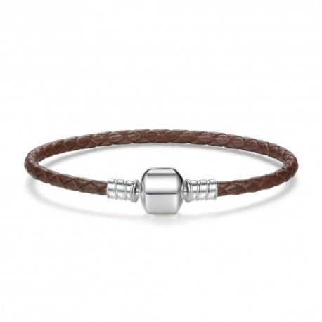 Woven leather charm bracelet