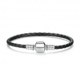 Woven leather charm bracelet
