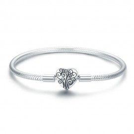 Bracelet à charms en argent (S925) Fermoir à clip arbre de la vie