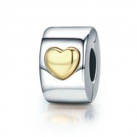 Zilveren clip met gouden hart