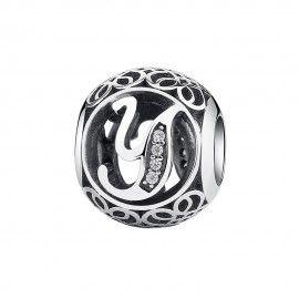 Zilveren bedel letter Y met zirkonia steentjes