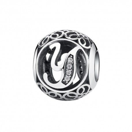 Sterling silver charm with zirconia stones letter Y