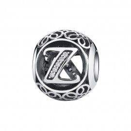 Charm in argento lettera Z con pietre di zirconia