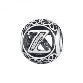 Zilveren bedel letter Z met zirkonia steentjes