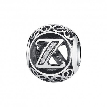 Sterling silver charm with zirconia stones letter Z
