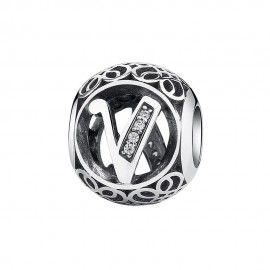 Sterling silver charm with zirconia stones letter V