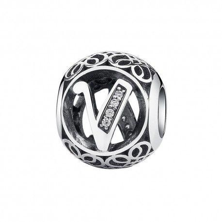 Zilveren bedel letter V met zirkonia steentjes