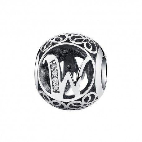 Zilveren bedel letter W met zirkonia steentjes