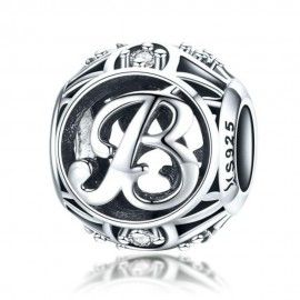 Sterling silver alphabet charm with zirconia stones letter B
