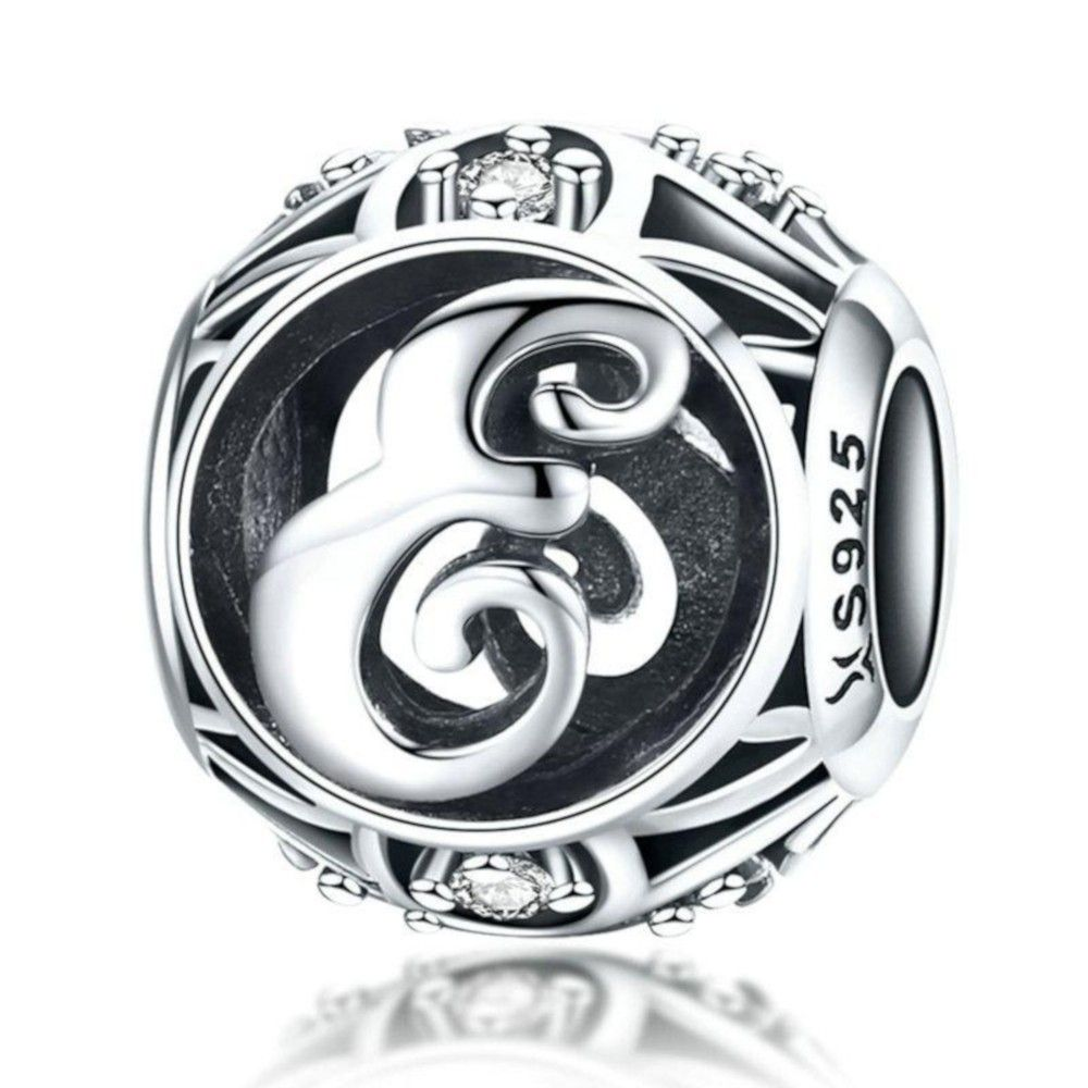 Sterling silver alphabet charm with zirconia stones letter E