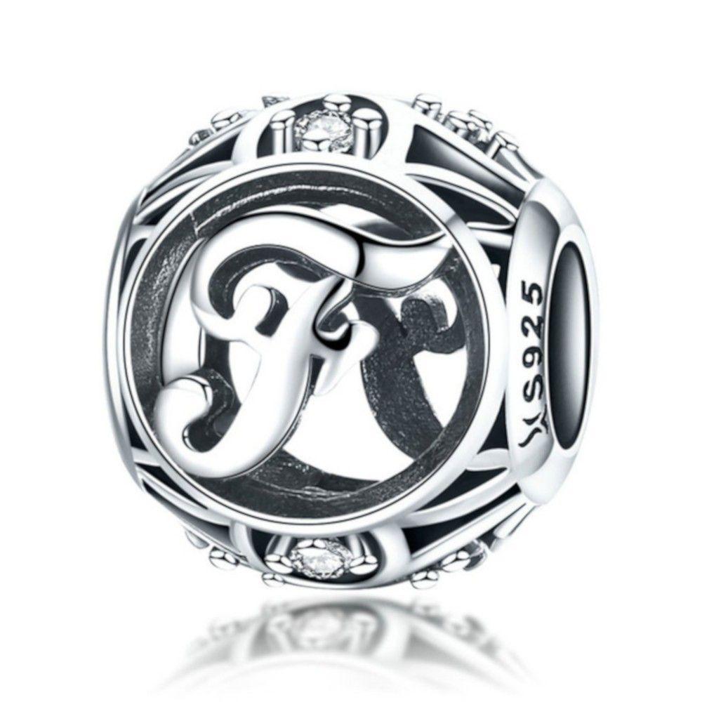 Sterling Silber Alphabet Charm Buchstabe F mit Zirkonia Steinen