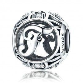 Zilveren alfabet bedel letter F met zirkonia steentjes
