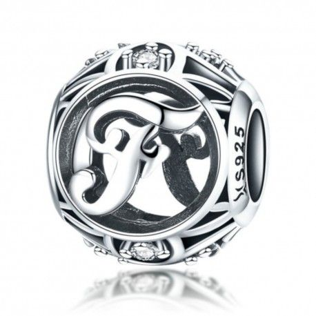Sterling silver alphabet charm with zirconia stones letter F