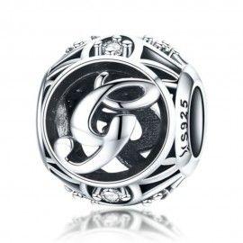 Zilveren alfabet bedel letter G met zirkonia steentjes