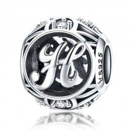 Zilveren alfabet bedel letter H met zirkonia steentjes