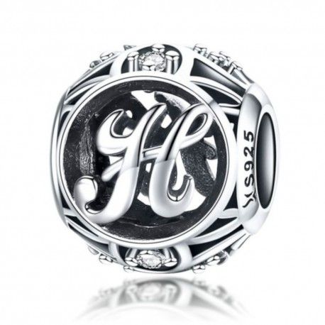 Sterling silver alphabet charm with zirconia stones letter H