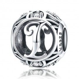 Sterling silver alphabet charm with zirconia stones letter I