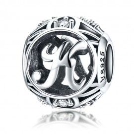 Sterling silver alphabet charm with zirconia stones letter K