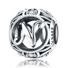 Zilveren alfabet bedel letter N met zirkonia steentjes