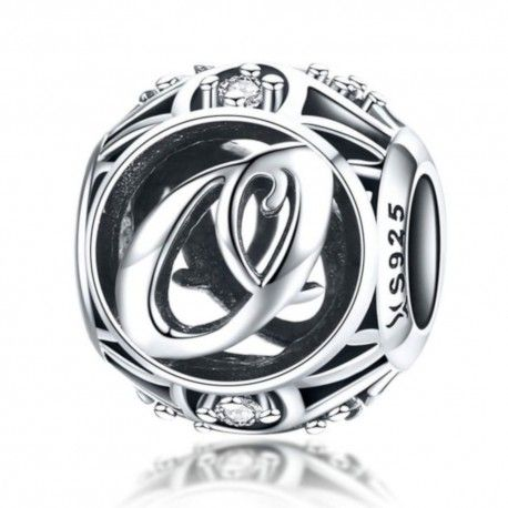 Sterling silver alphabet charm with zirconia stones letter O