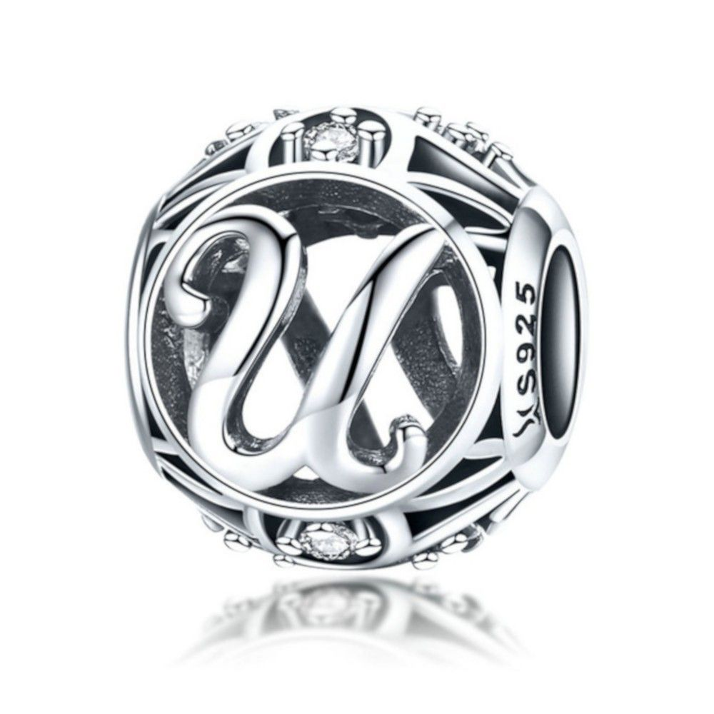 Sterling silver alphabet charm with zirconia stones letter U