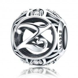 Sterling silver alphabet charm with zirconia stones letter Z