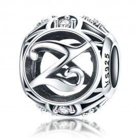 Zilveren alfabet bedel letter Z met zirkonia steentjes