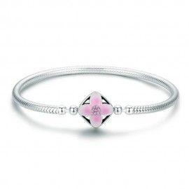 Bracelet en argent (S925) Carré fleur