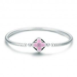 Sterling silver charm bracelet Flower square
