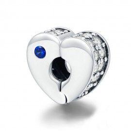 Zilveren clip hartvormig