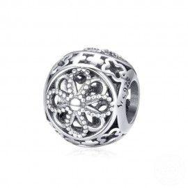 Zilveren bedel Bloemenbal