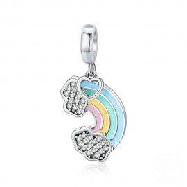 Zilveren hangende bedel Kleurrijke regenboog
