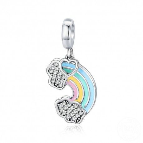 Sterling silver pendant charm Colorful rainbow