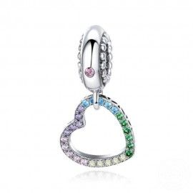 Charm pendente in argento Cuore arcobaleno