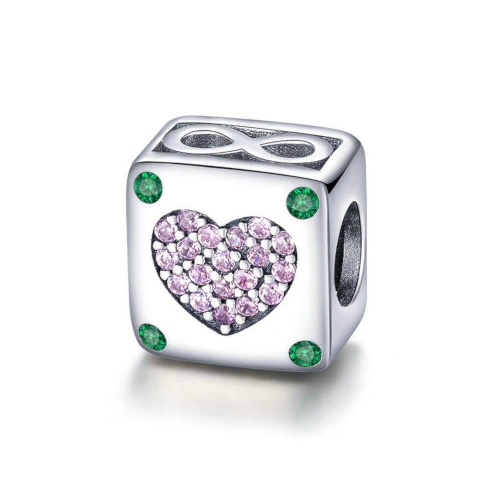 Zilveren bedel Oneindige liefde vierkant