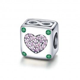 Sterling silver charm Infinity love in square heart