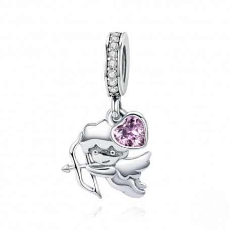 Sterling silver pendant charm Cupid with pink heart